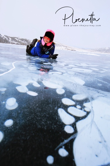 Bubble on the frozen Lake Baikal